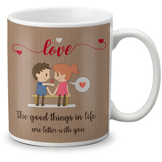 LOF Happy 1st First Valentine's Day Gift for Love My Life Special Girlfriend,Boyfriend,Wife,Husband Cute and Beautiful Best Love Qutation Mug 005