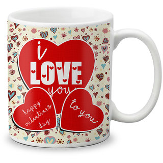 LOF Happy 1st First Valentine's Day Gift for Love My Life Special Girlfriend,Boyfriend,Wife,Husband Cute and Beautiful Best Love Qutation Mug 061