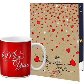 LOF Valentine Gift ||Wife Gift For Valentine||Husband Gift For Valentine||Love Gift Set||Grilfriend Gift For Valentine Day|| Special Gift Set Coffee Mug Printed A4 Greeting Card Full Printed 0007