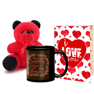 LOF Black Mug, A4 Full Printed Greeting Card With Teddy Bear- 0031