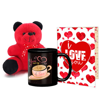 LOF Black Mug, A4 Full Printed Greeting Card With Teddy Bear- 0037