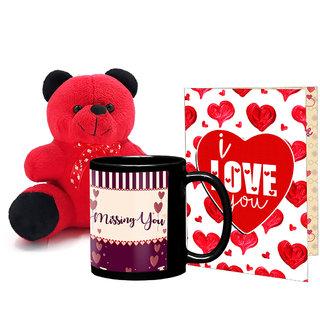 LOF Black Mug, A4 Full Printed Greeting Card With Teddy Bear- 0046