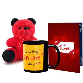 LOF Black Mug, A4 Full Printed Greeting Card With Teddy Bear- 0052