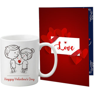 LOF Valentine Gift ||Wife Gift For Valentine||Husband Gift For Valentine||Love Gift Set||Grilfriend Gift For Valentine Day|| Special Gift Set Coffee Mug Printed A4 Greeting Card Full Printed 0058