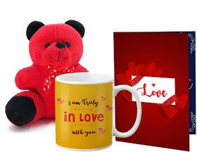 LOF Valentines Gift For Wife Teddy Soft Toy Gift Combo Girlfriend Valentine Gift|| Boyfriend Valentine Gift||Wife Gift For Valentine||Teddy Mug and Greeting Set052