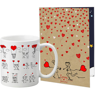 LOF Valentine Gift ||Wife Gift For Valentine||Husband Gift For Valentine||Love Gift Set||Grilfriend Gift For Valentine Day|| Special Gift Set Coffee Mug Printed A4 Greeting Card Full Printed 0076