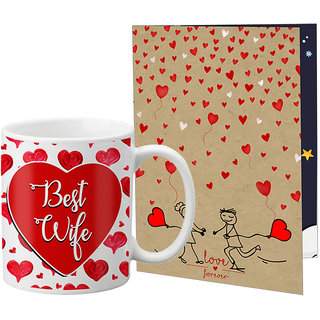 LOF Valentine Gift ||Wife Gift For Valentine||Husband Gift For Valentine||Love Gift Set||Grilfriend Gift For Valentine Day|| Special Gift Set Coffee Mug Printed A4 Greeting Card Full Printed 0079
