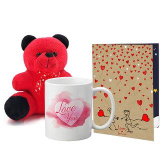 LOF Valentines Gift For Wife Teddy Soft Toy Gift Combo Girlfriend Valentine Gift   Boyfriend Valentine Gift  Wife Gift For Valentine  Teddy Mug and Greeting Set004