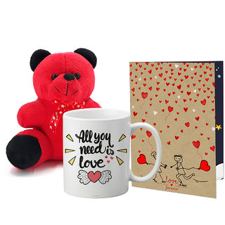 LOF Valentines Gift For Wife Teddy Soft Toy Gift Combo Girlfriend Valentine Gift|| Boyfriend Valentine Gift||Wife Gift For Valentine||Teddy Mug and Greeting Set006