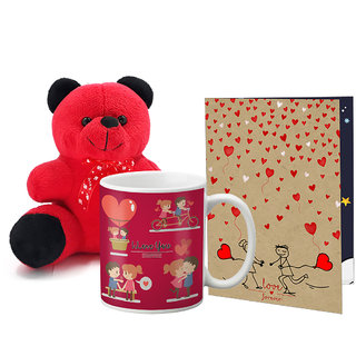 LOF Valentines Gift For Wife Teddy Soft Toy Gift Combo Girlfriend Valentine Gift|| Boyfriend Valentine Gift||Wife Gift For Valentine||Teddy Mug and Greeting Set009