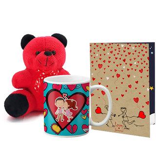 LOF Valentines Gift For Wife Teddy Soft Toy Gift Combo Girlfriend Valentine Gift|| Boyfriend Valentine Gift||Wife Gift For Valentine||Teddy Mug and Greeting Set016