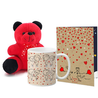 LOF Valentines Gift For Wife Teddy Soft Toy Gift Combo Girlfriend Valentine Gift   Boyfriend Valentine Gift  Wife Gift For Valentine  Teddy Mug and Greeting Set020