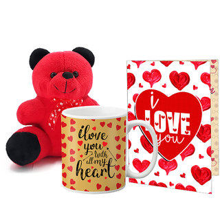 LOF Valentines Gift For Wife Teddy Soft Toy Gift Combo Girlfriend Valentine Gift|| Boyfriend Valentine Gift||Wife Gift For Valentine||Teddy Mug and Greeting Set024