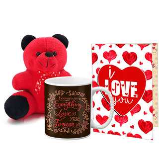 LOF Valentines Gift For Wife Teddy Soft Toy Gift Combo Girlfriend Valentine Gift|| Boyfriend Valentine Gift||Wife Gift For Valentine||Teddy Mug and Greeting Set031