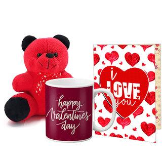 LOF Valentines Gift For Wife Teddy Soft Toy Gift Combo Girlfriend Valentine Gift|| Boyfriend Valentine Gift||Wife Gift For Valentine||Teddy Mug and Greeting Set034