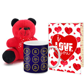 LOF Valentines Gift For Wife Teddy Soft Toy Gift Combo Girlfriend Valentine Gift|| Boyfriend Valentine Gift||Wife Gift For Valentine||Teddy Mug and Greeting Set035