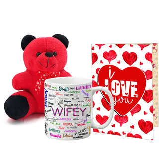 LOF Valentines Gift For Wife Teddy Soft Toy Gift Combo Girlfriend Valentine Gift|| Boyfriend Valentine Gift||Wife Gift For Valentine||Teddy Mug and Greeting Set040