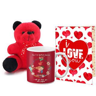 LOF Valentines Gift For Wife Teddy Soft Toy Gift Combo Girlfriend Valentine Gift|| Boyfriend Valentine Gift||Wife Gift For Valentine||Teddy Mug and Greeting Set042