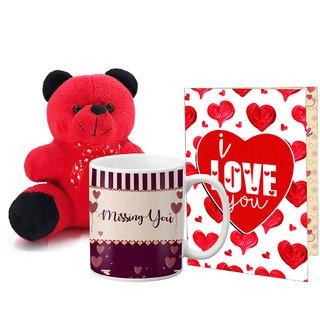 LOF Valentines Gift For Wife Teddy Soft Toy Gift Combo Girlfriend Valentine Gift|| Boyfriend Valentine Gift||Wife Gift For Valentine||Teddy Mug and Greeting Set046