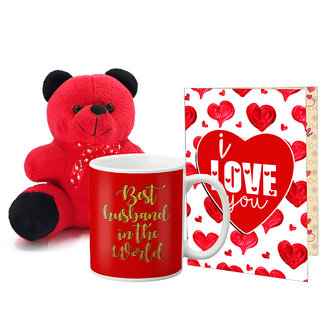 LOF Valentines Gift For Wife Teddy Soft Toy Gift Combo Girlfriend Valentine Gift|| Boyfriend Valentine Gift||Wife Gift For Valentine||Teddy Mug and Greeting Set047