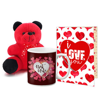 LOF Valentines Gift For Wife Teddy Soft Toy Gift Combo Girlfriend Valentine Gift|| Boyfriend Valentine Gift||Wife Gift For Valentine||Teddy Mug and Greeting Set049