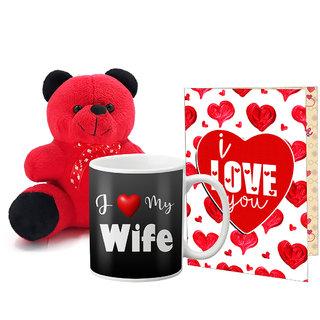 LOF Valentines Gift For Wife Teddy Soft Toy Gift Combo Girlfriend Valentine Gift|| Boyfriend Valentine Gift||Wife Gift For Valentine||Teddy Mug and Greeting Set050