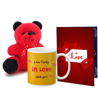 LOF Valentines Gift For Wife Teddy Soft Toy Gift Combo Girlfriend Valentine Gift|| Boyfriend Valentine Gift||Wife Gift For Valentine||Teddy Mug and Greeting Set052