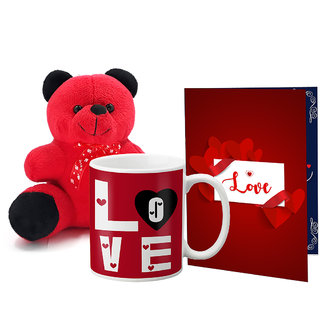 LOF Valentines Gift For Wife Teddy Soft Toy Gift Combo Girlfriend Valentine Gift|| Boyfriend Valentine Gift||Wife Gift For Valentine||Teddy Mug and Greeting Set053