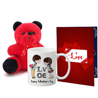 LOF Valentines Gift For Wife Teddy Soft Toy Gift Combo Girlfriend Valentine Gift|| Boyfriend Valentine Gift||Wife Gift For Valentine||Teddy Mug and Greeting Set054