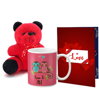 LOF Valentines Gift For Wife Teddy Soft Toy Gift Combo Girlfriend Valentine Gift|| Boyfriend Valentine Gift||Wife Gift For Valentine||Teddy Mug and Greeting Set055