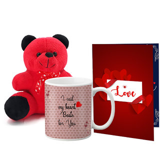 LOF Valentines Gift For Wife Teddy Soft Toy Gift Combo Girlfriend Valentine Gift|| Boyfriend Valentine Gift||Wife Gift For Valentine||Teddy Mug and Greeting Set056