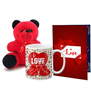 LOF Valentines Gift For Wife Teddy Soft Toy Gift Combo Girlfriend Valentine Gift|| Boyfriend Valentine Gift||Wife Gift For Valentine||Teddy Mug and Greeting Set061