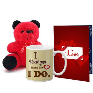 LOF Valentines Gift For Wife Teddy Soft Toy Gift Combo Girlfriend Valentine Gift   Boyfriend Valentine Gift  Wife Gift For Valentine  Teddy Mug and Greeting Set064