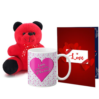 LOF Valentines Gift For Wife Teddy Soft Toy Gift Combo Girlfriend Valentine Gift|| Boyfriend Valentine Gift||Wife Gift For Valentine||Teddy Mug and Greeting Set068