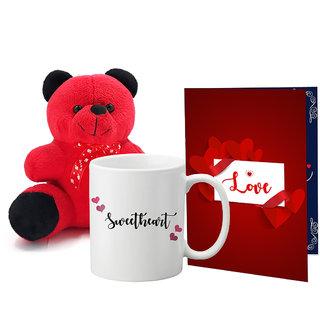 LOF Valentines Gift For Wife Teddy Soft Toy Gift Combo Girlfriend Valentine Gift|| Boyfriend Valentine Gift||Wife Gift For Valentine||Teddy Mug and Greeting Set070