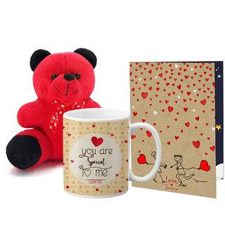 LOF Valentines Gift For Wife Teddy Soft Toy Gift Combo Girlfriend Valentine Gift|| Boyfriend Valentine Gift||Wife Gift For Valentine||Teddy Mug and Greeting Set072