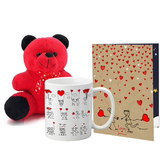LOF Valentines Gift For Wife Teddy Soft Toy Gift Combo Girlfriend Valentine Gift|| Boyfriend Valentine Gift||Wife Gift For Valentine||Teddy Mug and Greeting Set076