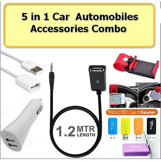 Car Accessories Combo (USB to USB+USB to AUX+Steering holder+Dual Car Charger+card reader) New