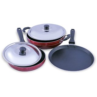 buyer non stick kadai with dosa tawa and fry pan 3 piece combo