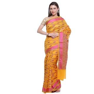 Humairah Art Silk Banarasi Embroidered Sari Alongwith Unstitched Blouse Piece -Attarctive Embellished Pattern Saree Yellow
