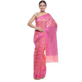 Humairah Art Silk Banarasi Embroidered Sari Alongwith Unstitched Blouse Piece -Attarctive Embellished Pattern Saree Pink