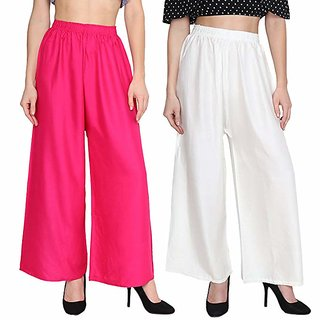 f4b95f6eb5 RUCHIKA IMPORTED WOMEN SATIN PLAIN PALAZZO TROUSERS PACK OF-2