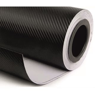 NAWAB 12x24 Inches 3D Black Carbon Fiber Vinyl Car Wrap Sheet Roll Film Sticker Decal For Car  Bike Both
