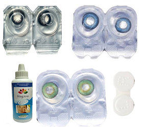 Magjons 3 Pair (Black, Blue, Green) 0 Power Monthly Contact Lens 0 Dioptres MPS Solution With Lens  3-Storage Box