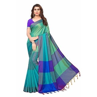 Indian Beauty Art Cotton Silk With Blouse Saree