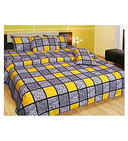 chawla multi Poly-Cotton Double Bed sheet with 2 pillow cover (GBS010)