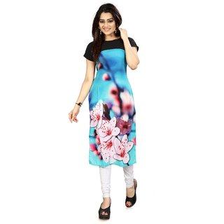 BLANCORA Women's Digital Printed Multicolor Short Sleeve Straight Stitched Crepe Kurti