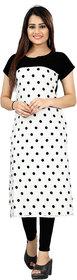 BLANCORA Women's Short Sleeve Polka Dots Black and White Self Design Straight Crepe Kurti