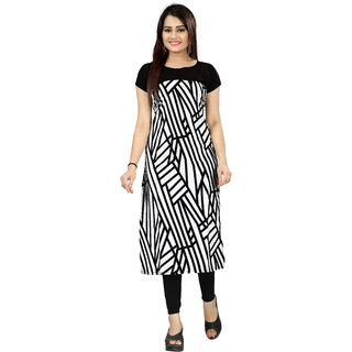 BLANCORA Women's Short Sleeve Self Design Black and White Straight Crepe Kurti