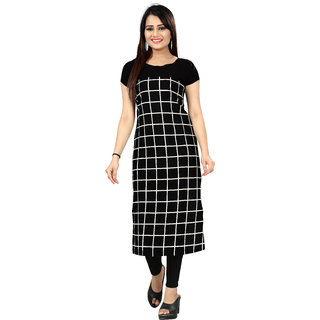 BLANCORA Women's Short Sleeve Checks Self Design Straight Crepe Kurti